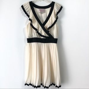 Rory Beca Cream and Black Pleated Dress Size Med